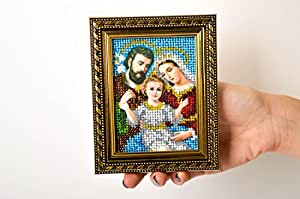Handmade Embroidered Icon Beautiful Beaded Icon Family Icon Home Amulet