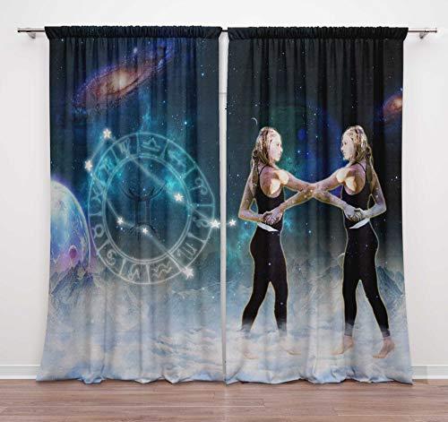 Timingila Multicolor Door Curtain Gemini Horoscope Zodiac Sign Living Room Eyelet Door Curtain 2 Pc - 54 x 90 Inches (Gemini 200 Dash 8)