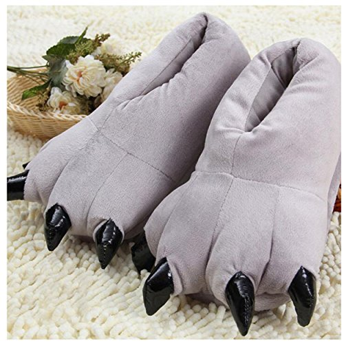 Plush Soft Grey Slippers Unisex Shoes Costume Home Claw Paw Lanfire Animal vTqExw55