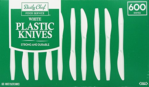 Daily Chef Heavyweight Plastic Knives, White, 600 Count