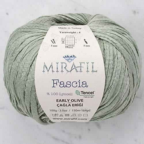 3 Pack Mirafil Fascia Tencel Yarn, 100% Lyocell 100 g (3.5 oz) / 150 m (164 yd), Yarn Weight: 4 (Early Olive)