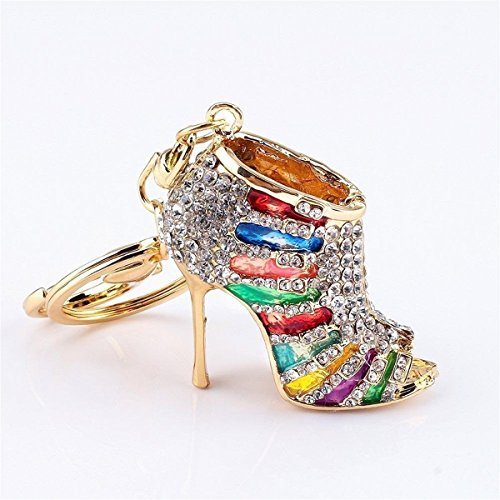 Crystal Rhinestone Diamante High Heel Shoe Decoration Chain for Phone Car Bag Key Ring keychain Charm Gift - Perfect for Women Ladies Girls' Phone Key Bag (Mix-Colored)