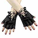 Women Female Sexy Lace Up Biker Rock Genuine Leather Gloves