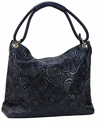 BOZANA Bag Kira Dunkelblau Blau Italy Designer Damen Handtasche Ledertasche Tasche Wildleder Prägung Shopper Neu 8VV41