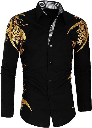YEBIRAL Camisetas Hombre Manga Larga, Casual Formal Slim Fit Estampado Slim Fit Hombre Polos Básico Polo con Botones Camisetas Blusa(2XL, Negro): Amazon.es: Ropa y accesorios