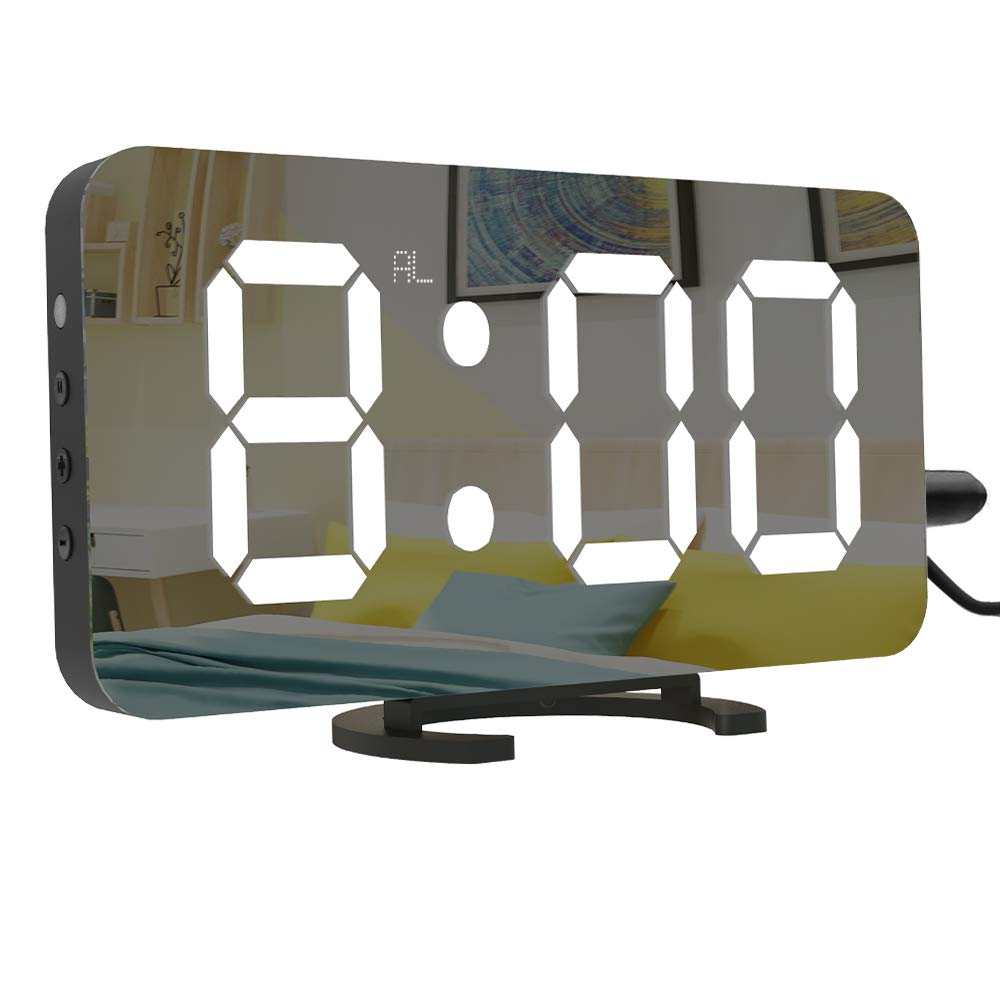 Digital LED Alarm Clock, 6.5'' Large Display Alarm Clock with Dual USB Charger Port, Dimmer and Big Snooze, Mirror Surface, Suitable for Bedroom, Home, Office Décor Cynthia