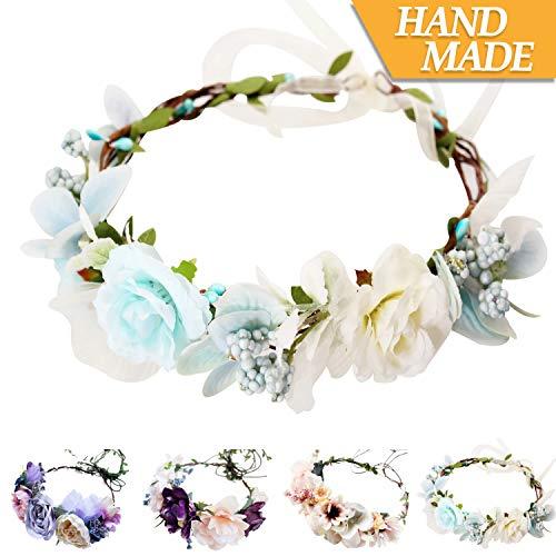 Handmade Adjustable Flower Wreath Headband Halo Floral Crown Garland Headpiece Wedding Festival Party -