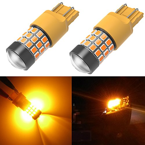 Honda Civic Turn Signal - Alla Lighting 39-SMD 7443 7440 T20 High Power 2835 Chipsets Xtremely Super Bright Amber Yellow LED Bulbs for Turn Signal Light