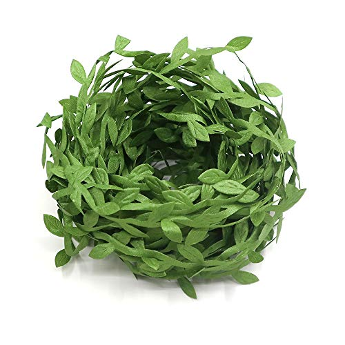 Lowki Olive Leaves Leaf Trim Ribbon for DIY Craft and Decoration 33ft (Green)