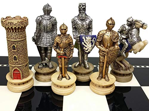 Medieval Times Crusades Gold and Silver Armored Warrior Knight Chess Men Set - NO BOARD