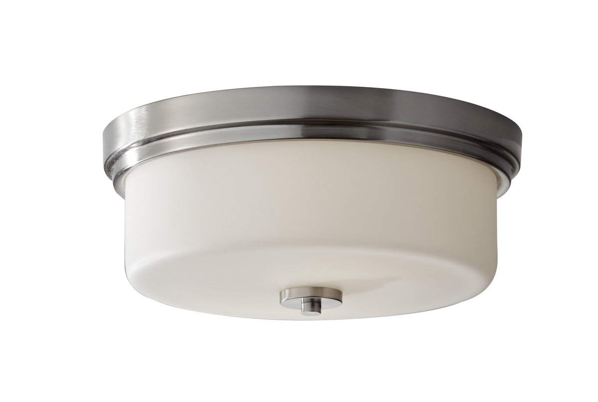 Feiss FM370BS Kincaid Glass Flush Mount Ceiling Lights, 2-Light, Brushed Steel (13''W by 6''H)