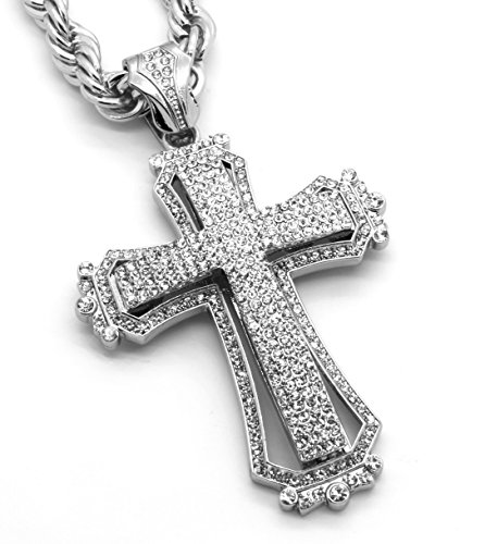 (Large Silver Tone Cross)