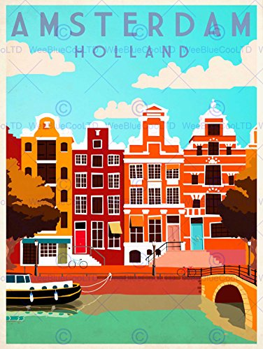TRAVEL AMSTERDAM HOLLAND NETHERLANDS CANAL BRIDGE BOAT HOUSES ART PRINT ()