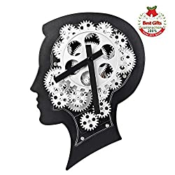SevenUp Large Decorative Wall Clock Silent Non Ticking,12.2 x 8.7, Premium Plastic and Metal Brain Artworks, Black Gear Clocks Wall Decoration for Living Room Bedroom