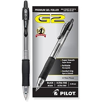 Pilot G2 Retractable Premium Gel Ink Roller Ball Pens, Ultra Fine, Dozen Box, Black