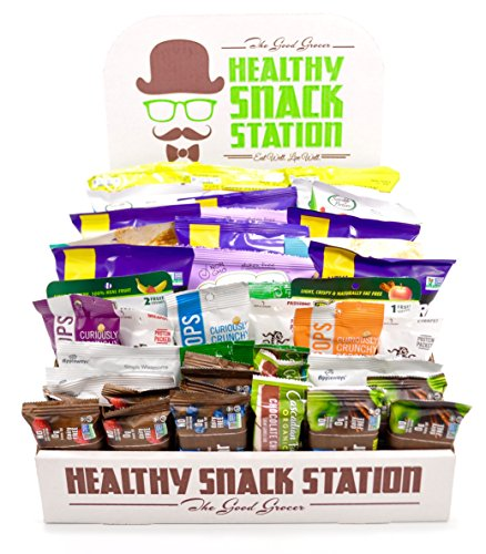 All Natural Healthy Snack Station (50 Count) by The Good Grocer - Office Snacks, Variety Pack, School Lunches (Includes Display Box) (Office Snack)