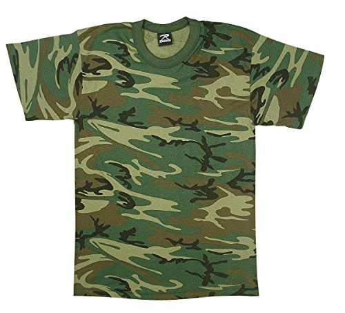 Woodland Cotton Camo T-shirt Army (Rothco Kids Heavyweight T-Shirt, Woodland Camo, X-Small)