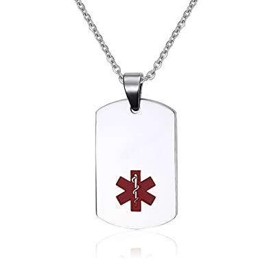 Amazon.com  Free Engraving-Women s and Men s Stainless Steel Dog Tag  Medical Alert ID Pendant Necklace with 20