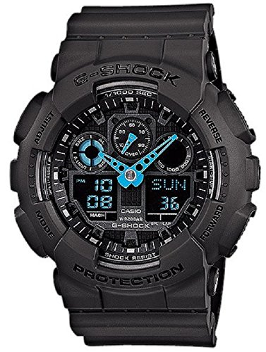 Casio Men's G-Shock Analog-Digital Watch GA-100C-8ACR, Grey/Neon Blue by Casio