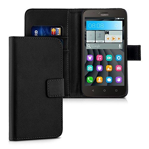 kwmobile Wallet Case Hülle für Huawei Y625 - Cover Flip Tasche mit Kartenfach und Ständerfunktion in Schwarz