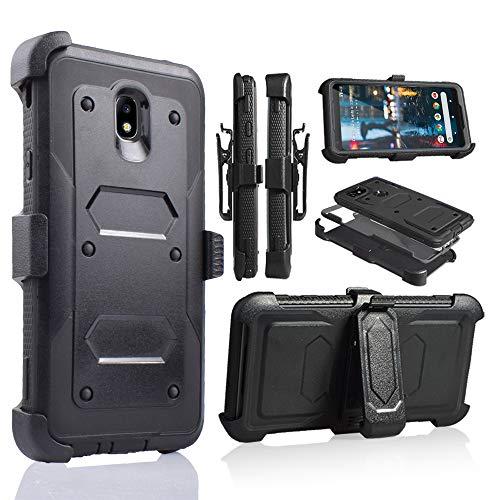 Samsung Galaxy J7 2018 / J7 Refine / J7V 2nd Gen / J7 Star / J7 Top Case, with Screen Protector Clip Holster Kickstand Grip Sides Shock Bumper Armor For Samsung J7 2018 (J737) (Black)