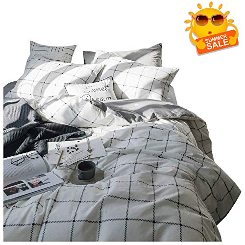 (BuLuTu Cotton Duvet Cover Set,Geometric Duvet Cover Queen White for Kids Adults,Grid Checkered Print Pattern Full Bedding Sets,Hotel Quality,Modern,Soft,No Comforter)