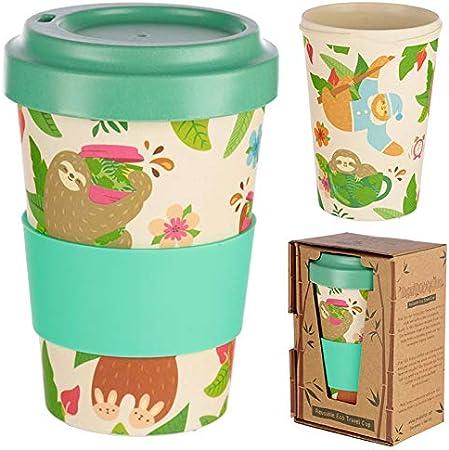 Taza para café de Fibra de bambú (Taza de café ecológica Reutilizable 420 ml, Hecha con Fibra de bambú Natural orgánica) (Verde)