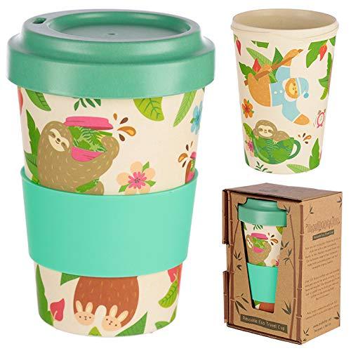 Taza para cafe de Fibra de bambu (Taza de cafe ecologica Reutilizable 420 ml, Hecha con Fibra de bambu Natural organica) (Verde)