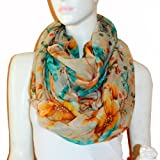 SCARF_TRADINGINC® Floral Butterfly Bird Dragonfly Light Weight X-large Infinity Scarf
