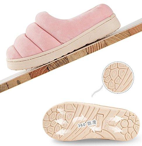 Cattior Chaussures De Maison Douce Solide Femmes Pantoufles Rouges