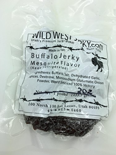 Wholesale Buffalo (#1 BEST Premium 100% Natural Grass Fed Hand Stripped 2 OZ. Thick Cut Delicious Bold Flavor Buffalo Mesquite Jerky from Utah USA – Wood smoked With Hickory Wood by Wild West Jerky (Mesquite, 1))