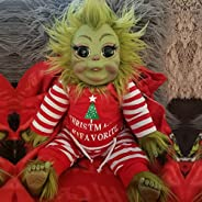 Grinch Doll, Hairy Grinch Baby with Removable Santa Costume Christmas Stuffed Plush Toy Handmade Lifelike Real
