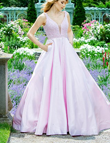 Amazon.com: YSMei Womens V Neck Beads Evening Prom Dress with Pockets Long Party Gown YPM462: Clothing