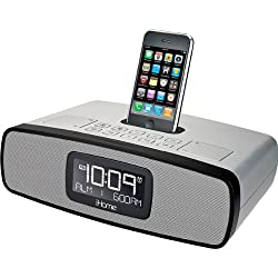 Silver iP90 Dual Alarm Clock Radio with AM/FM Radio and iPod/iPhone Dock