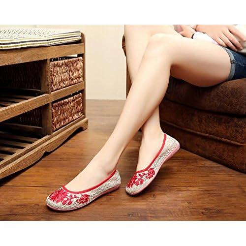 ZLL Chaussures brodées, lin, semelle de tendon, style ethnique, chaussures féminines, mode, confortable