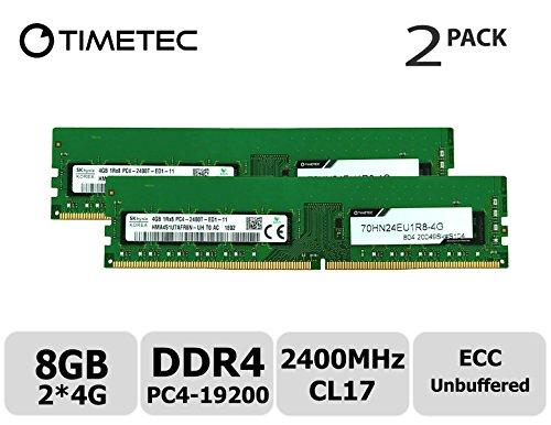 Timetec Hynix 8GB Kit (2x4GB) DDR4 2400MHz PC4-19200 Unbuffered ECC 1.2V CL17 1Rx8 Single Rank 288 Pin UDIMM Server Memory RAM Module Upgrade (8GB Kit (2x4GB)) -
