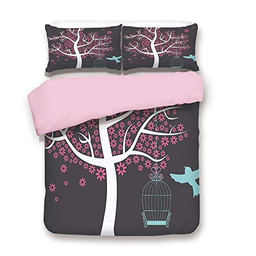 Pink Duvet Cover Set,King Size,Tree with Bird Cage and a Bird Flowers for Leaves Nature Freedom Decorative,Decorative 3 Piece Bedding Set with 2 Pillow Sham,Best Gift For Girls Women,Chocolate Pink Wh