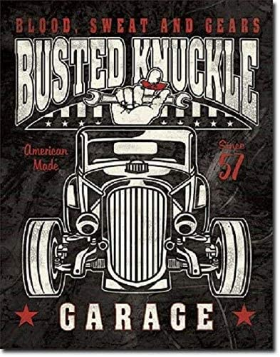 Busted Knuckle Shield Hot Rod Garage Gas Service Retro Wall Decor Metal Tin Sign