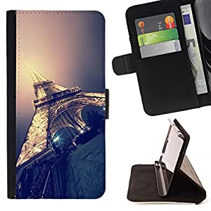 Momo Phone Case / Flip Funda de Cuero Case Cover - Paris Lumière Nuit Ville France - Samsung Galaxy S4 Mini i9190