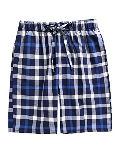 TINFL Boys Soft Cotton Plaid Check Sleep Lounge Shorts BSP-SB014-Blue XL ()