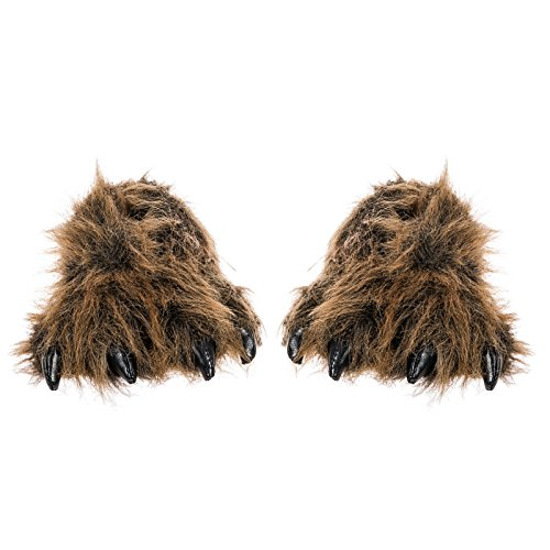 Wishpets Medium Brown Grizzly Bear Paw Slippers (Fuzzy Bear Claw Slippers)