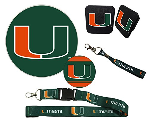 "Miami Hurricanes Mascot Magnet, 4"" Round Decal, Cloth Key Chain, Lanyard, and Rubber Trailer Hitch Cover Auto Pack"