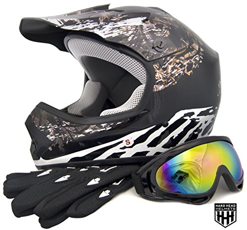 HHH DOT Youth & Kids Helmet for Dirtbike ATV Motocross MX Offroad Motorcyle Street bike Matte Black, Black Camo, Black Flame + WITH FREE GLOVES AND GOOGLES (Large, Black Camo)