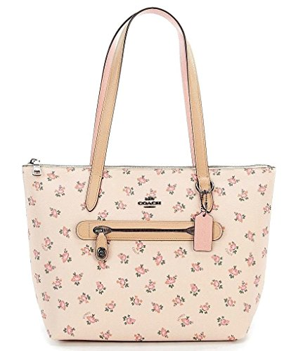 COACH Women Taylor Tote with Floral Bloom, DK/Beachwood Multi