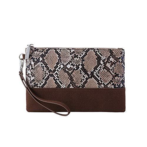 Leopard Print Clutch Purses Bags Women Crocodile Embossed Snakeskin Pattern Wristlet Pouch Wallet Faux Leather(Snake/Chocolate)