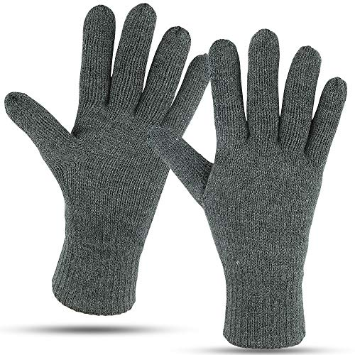 Winter Gloves For Men: Mens Cold Weather Snow Glove: Men's Knit Thinsulate Thermal Insulation Black Heather