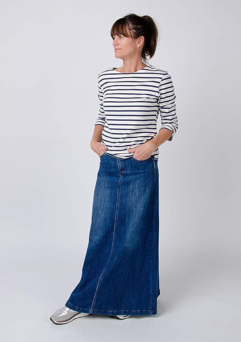 Langer Jeansrocke Stonewash blau Damen Denim Rock Andrea Jean Skirt