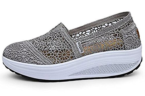 Dentelle Fitness Slip On forme Chaussures Gfone Grey Femmes Mocassins Floral Marche Plate Baskets De Wedge Course Casual Creux BqqwZSnWR