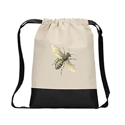 Canvas Backpack Color Drawstring Honey Bee Vintage Look By Style In Print