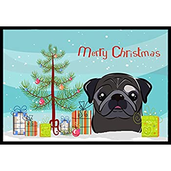 18H X 27W Multicolor Carolines Treasures BB1511MAT Black Pug Spoiled Dog Lives Here Indoor or Outdoor Mat 18x27